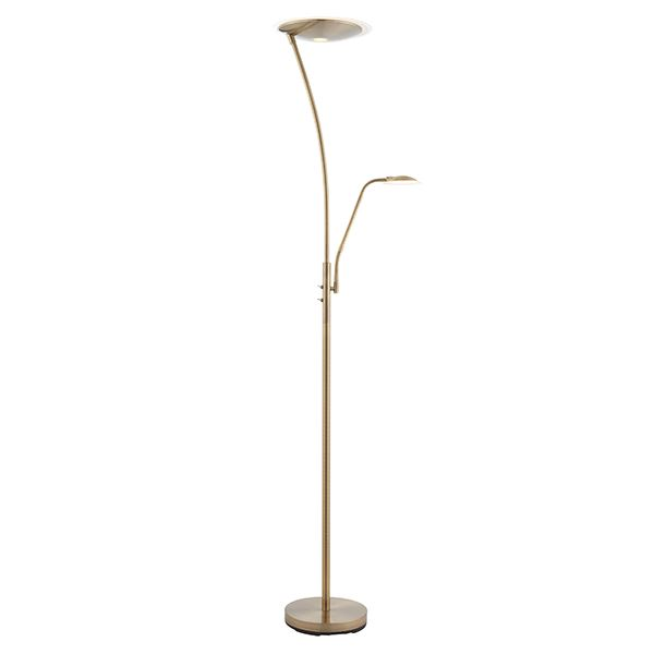Alassio Mother And Child Task Floor Lamp 18W & 6W SW Warm White Antique Brass