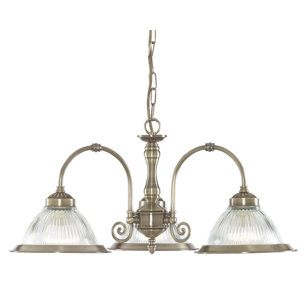 American Diner Antique Brass 3 Light Fitting With Clear Ribbed Glass