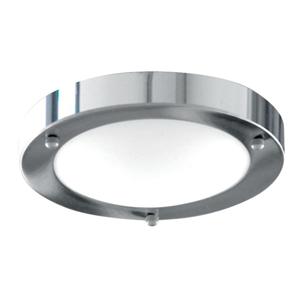 Bathroom Ip44 1 Light - 31cm Chrome Domed White Glass Flush
