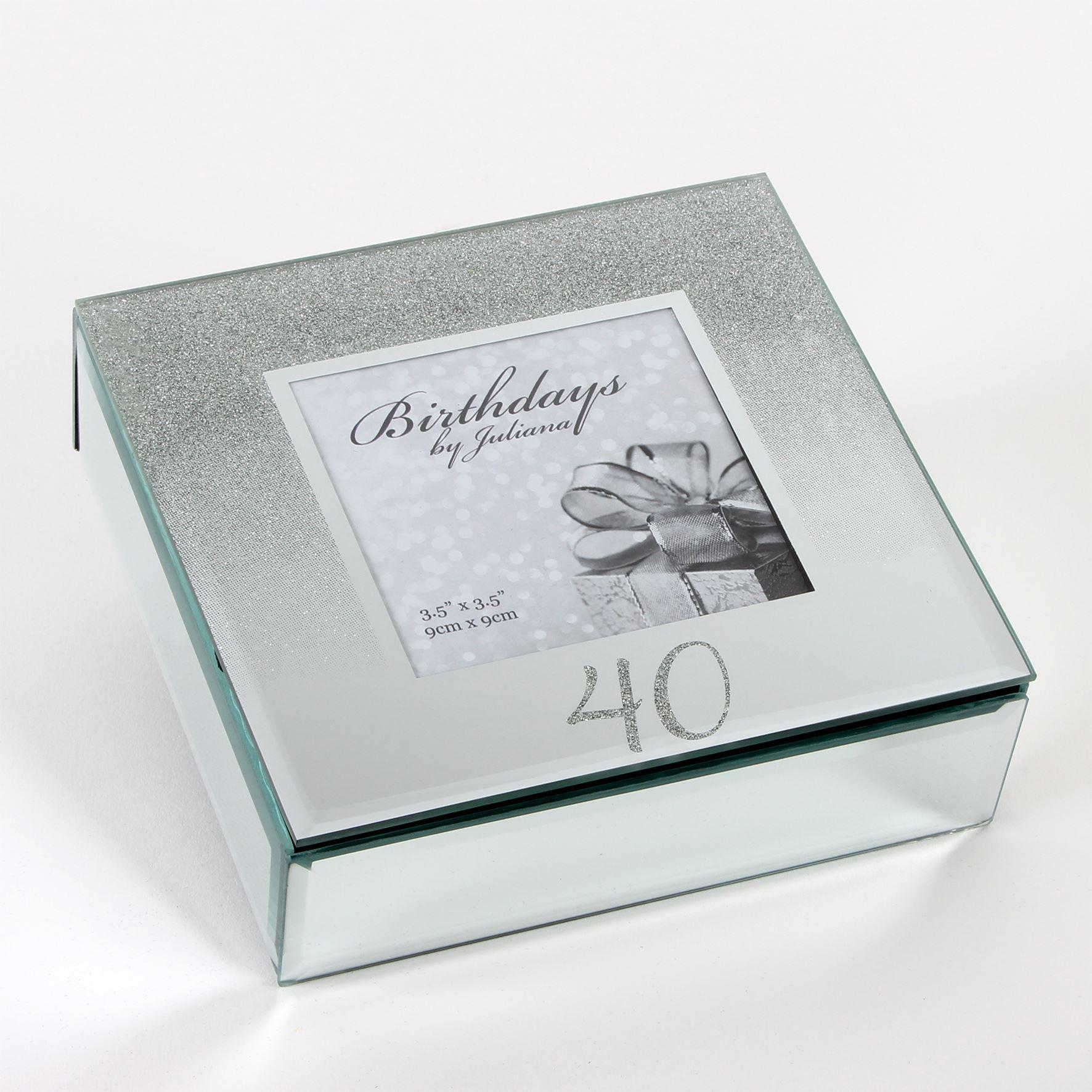 Birthdays By Juliana Glitter Mirror Trinket Box - 40Th