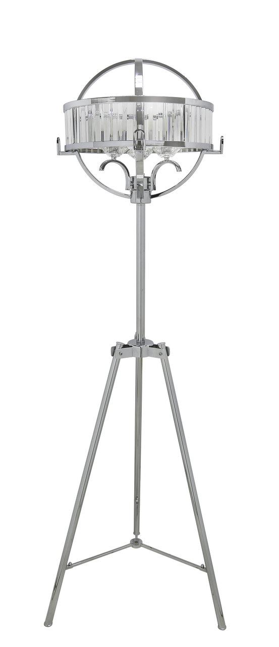 Chrome & crystal Hollywood Floor Lamps with clear and chrome Drum Shade