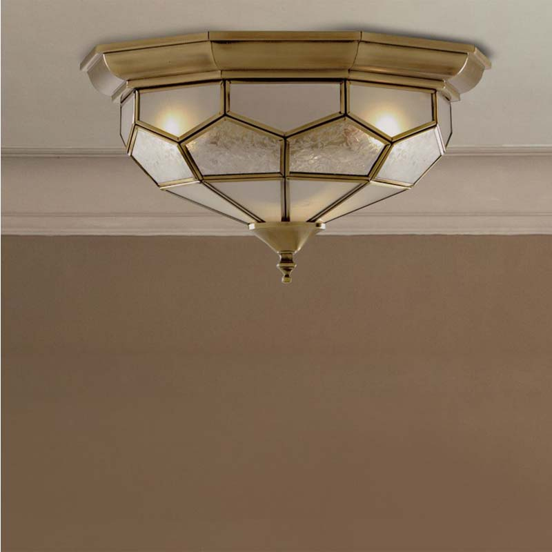 Antique Brass Flush Light With Clear, Frosted And Sanded Glass