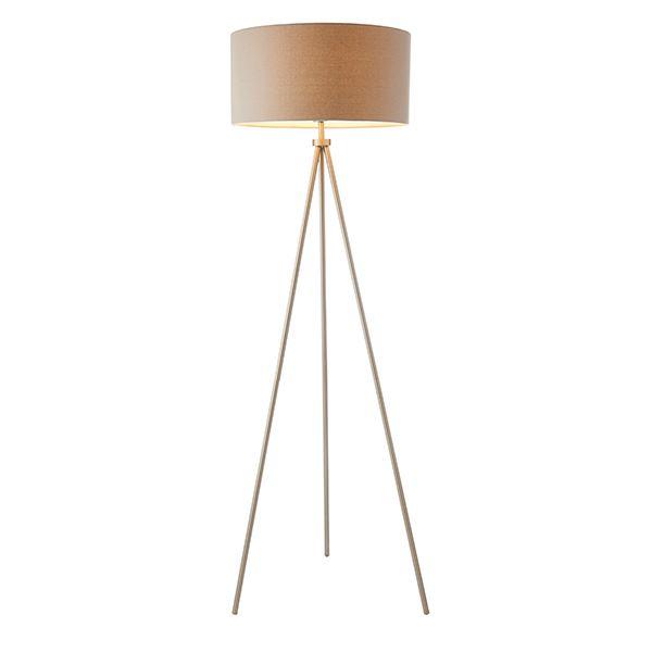 Endon Tri Floor Lamp 60W Glass Chrome Effect Plate & Ivory Linen Shade Light