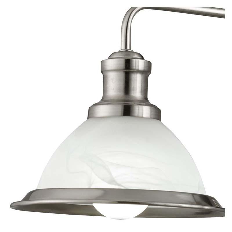 Bistro 3 Light Industrial Ceiling, Antique Brass, Marble Glass Shade, Antique Brass Trim