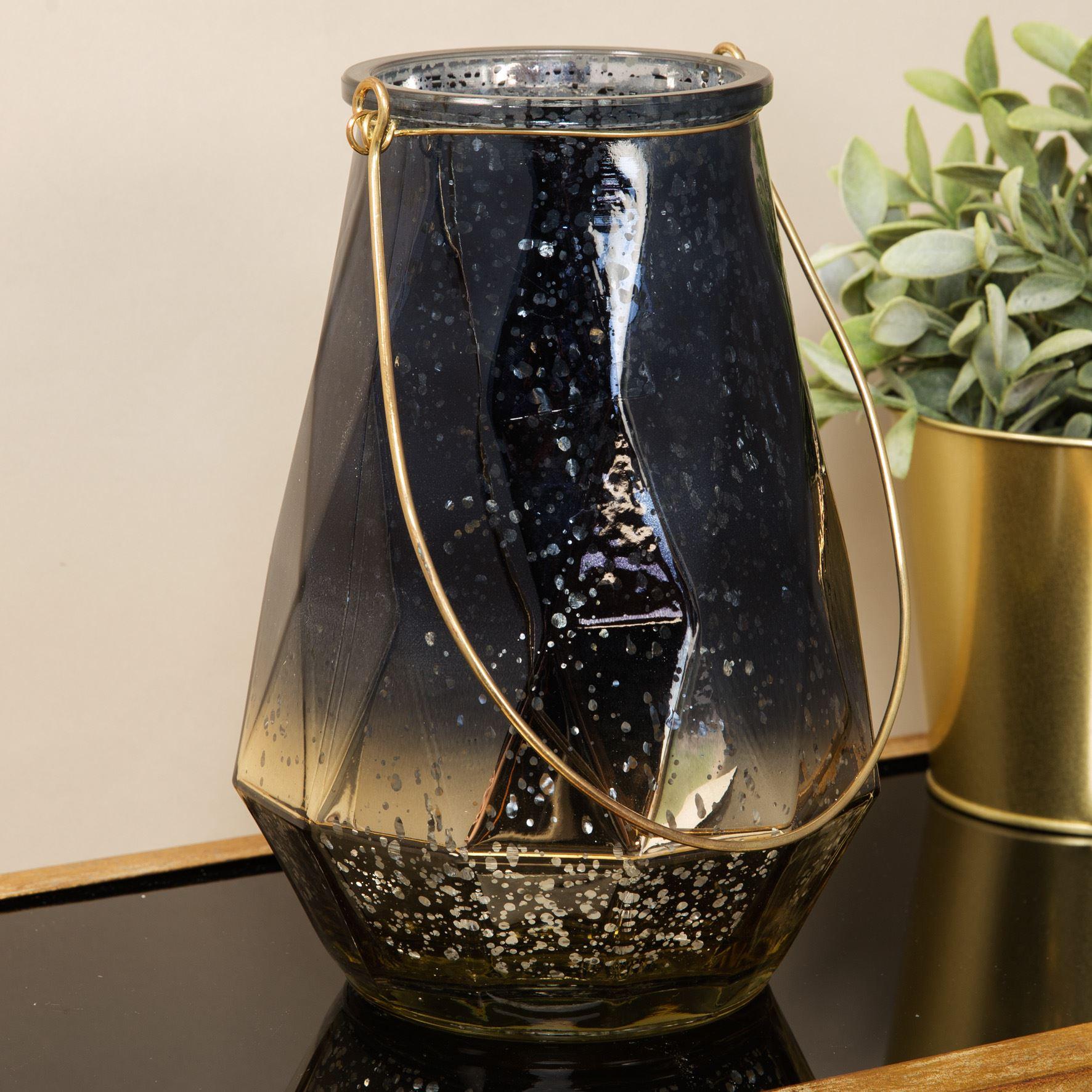 Blue & Copper Hurricane Glass Lantern 19cm - Widdop
