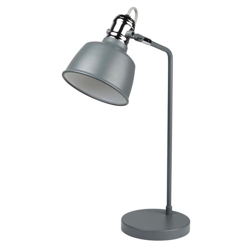 Scandi 1 Light Matt Grey Table Lamp With Chrome Detail
