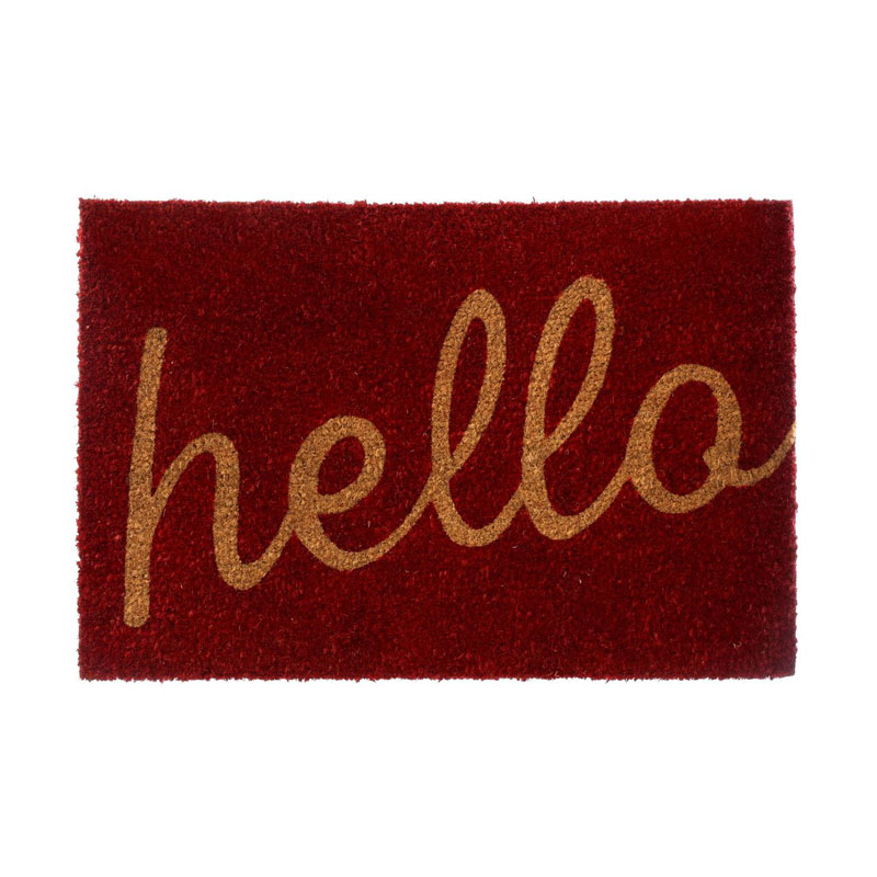 Hello Doormat,Coir/Pvc Backed,Red/Natural
