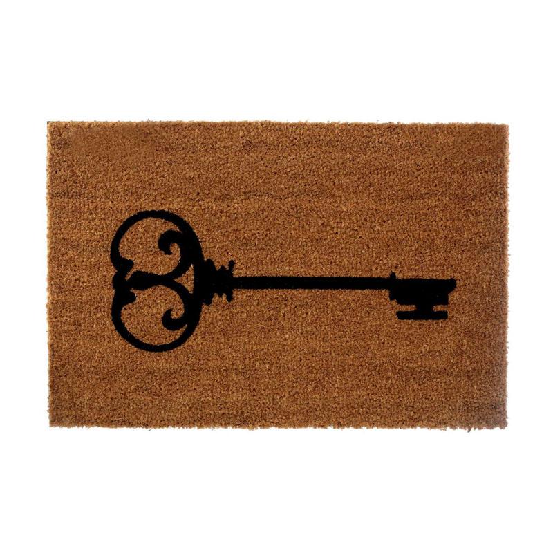 Key Doormat,Coir/Pvc Backed,Natural/Black