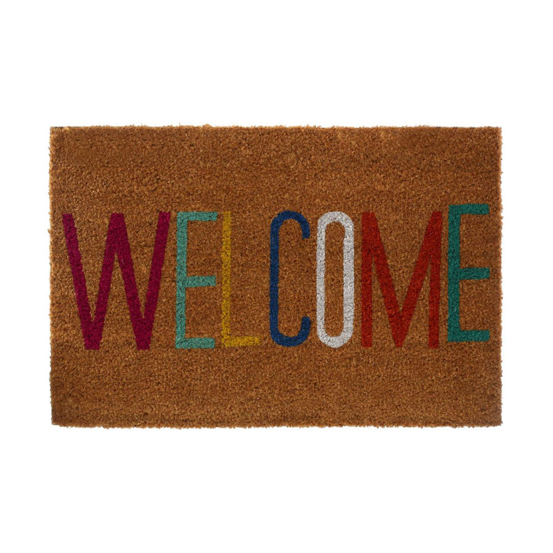 Welcome Doormat,Coir/Pvc Backed,Natural/Multi-Colour