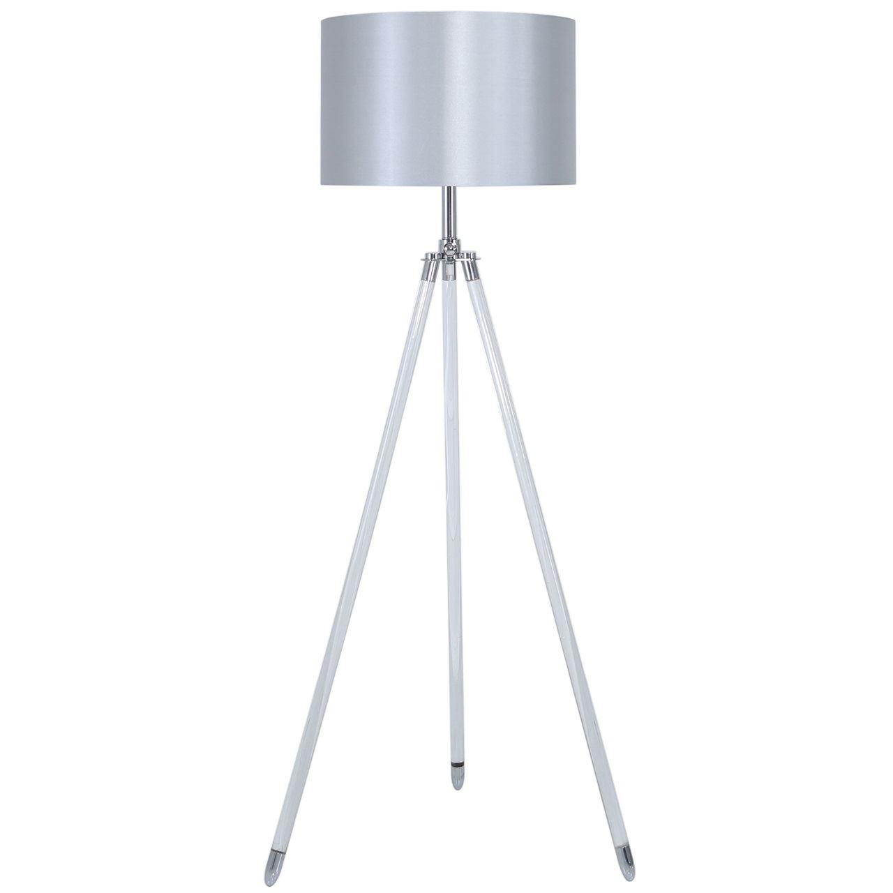 Contemporary  Style Aluminium Acrylic Silver Tripod Floor Lamps With 17cm Satin Silk Cylinder Shade