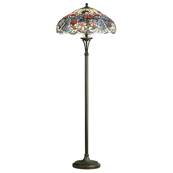 Tiffany Style Floor Lamp Floral Design Stained Handcrafted Glass Shade