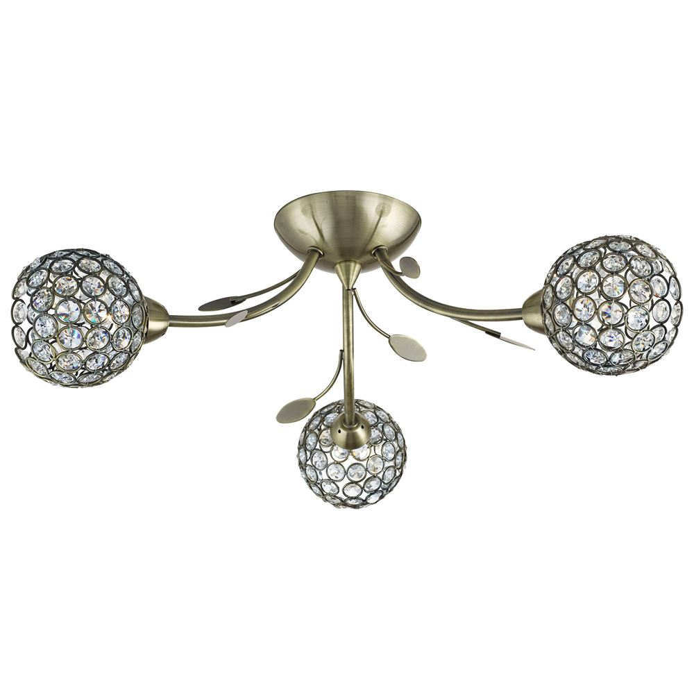 3 Light Semi-Flush Ceiling Light, Antique Brass With Clear Glass Deco Shades