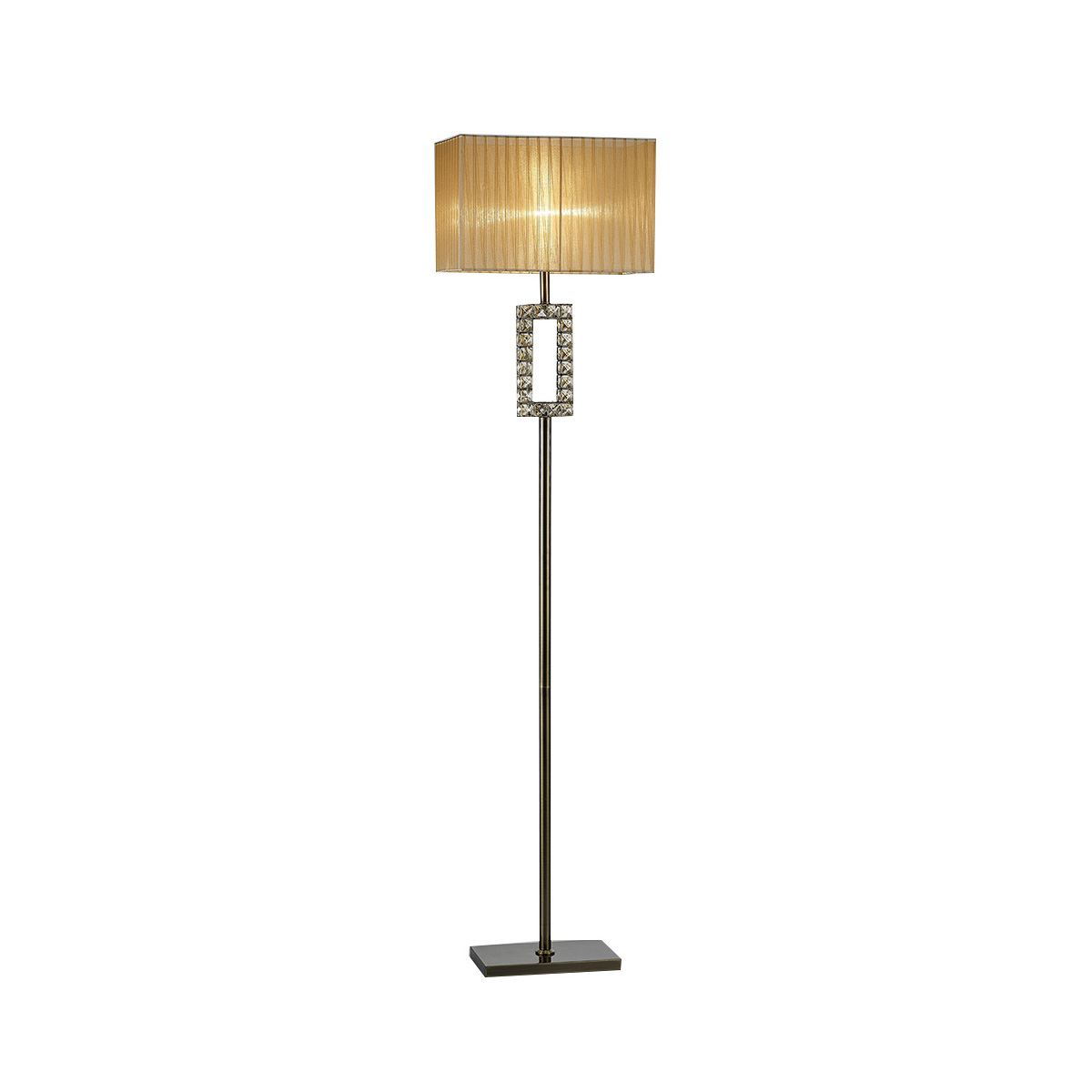 Florence Rectangle Floor Lamp With Bronze Shade 1 Light Antique Brass/Crystal