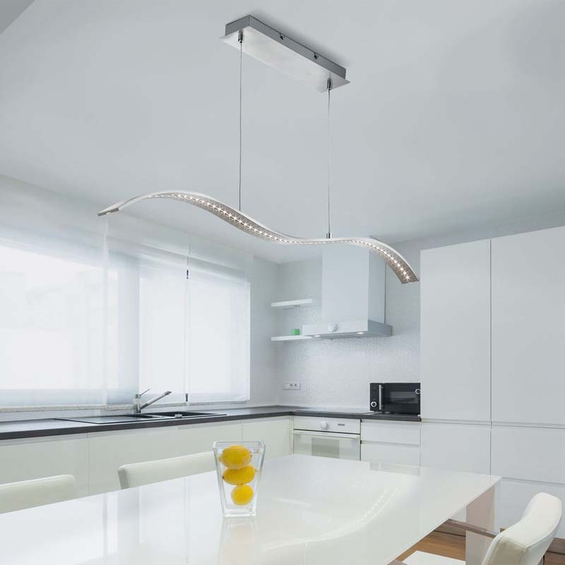 Led Bar Lights - Pendant Bar Satin Silver - Wavey