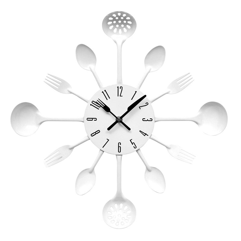 Quirky Cutlery Designed White Wall Clock