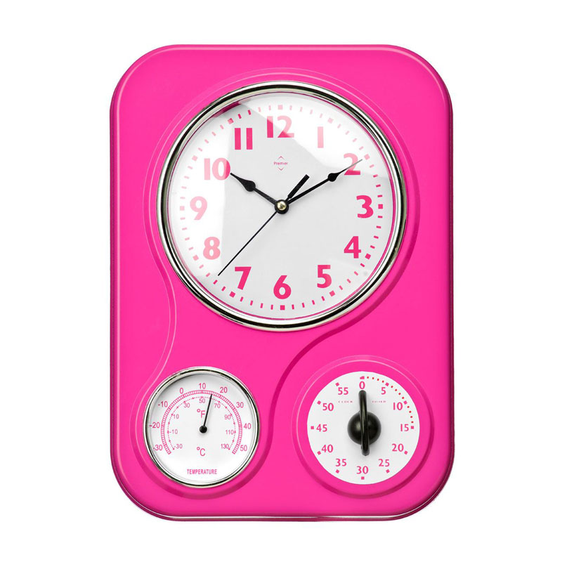 Multifunctional Wall Clock with Timer and Temperature in Hot PINK