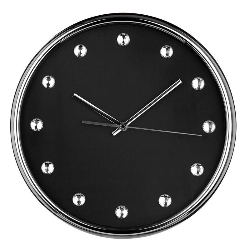 Beautiful Design Black Wall Clock & Clear Diamantes