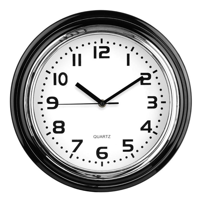 30x30cm Black Plastic Wall Clock & Chrome Finish
