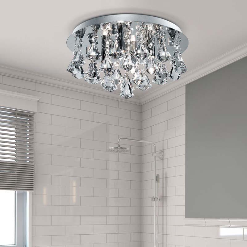 Hanna Ip44 Bathroom - 4 Light Crystal Ceiling Flush, Clear Pyramid Crystal Drops, Chrome