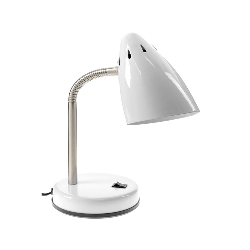 Desk Lamp, White Gloss, Chrome Flexible Stem