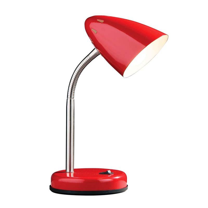 Desk Lamp, Red Gloss, Chrome Flexible Stem