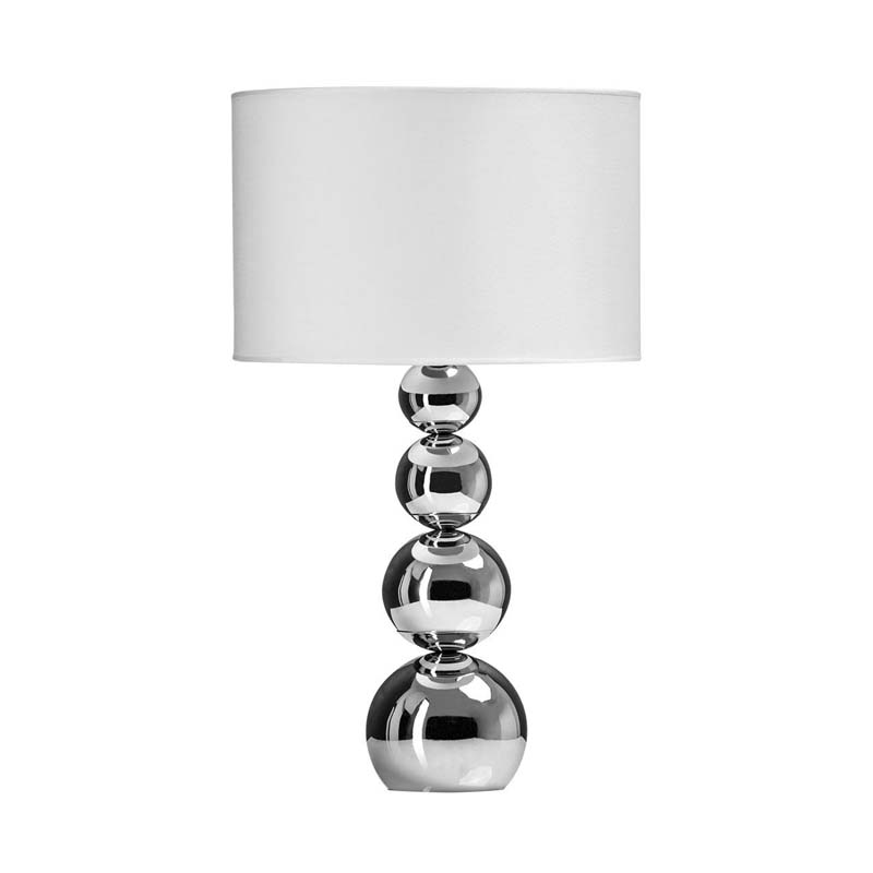 Cameo Chrome Iron Base Touch Table Lamp  With White Shade