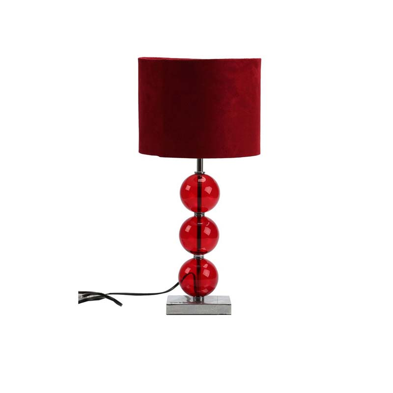 Mistro Table Lamp, Feature Chrome Base, Red Suede Effect Shade