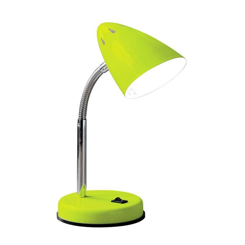 Desk Lamp, Green Gloss, Chrome Flexible Stem