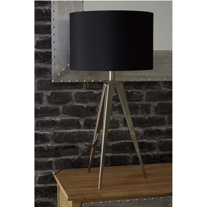 Modern Tripod Feature Lamp Stylish Satin Nickel Black Shade