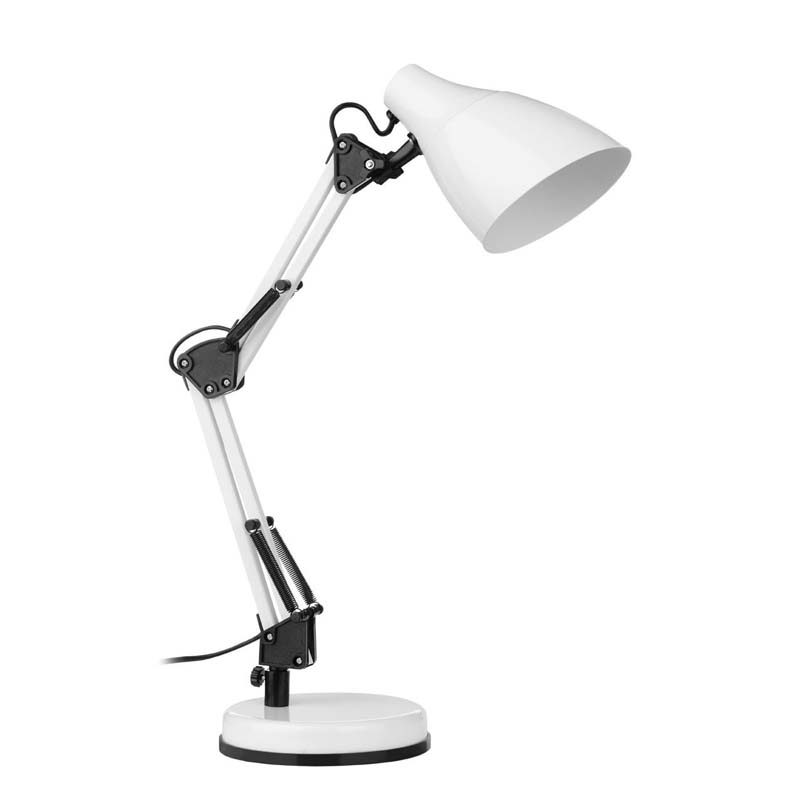White Metal Table Lamp & Fully Adjustable
