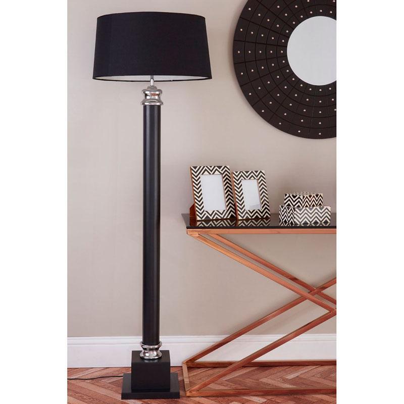 Regents Park Floor Lamp,Black Metal Column Base