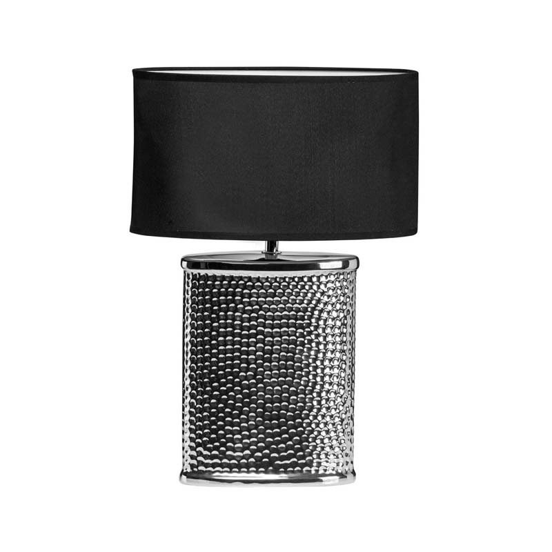 Regents Park Silver Hammered Ceramic Table Lamp & Chrome Finish