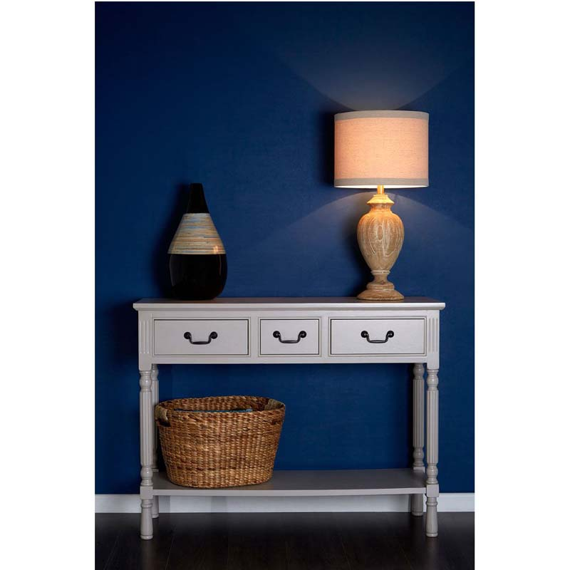 Antlia Designer Bedside Solid Wood Table Lamp With Natural Shade