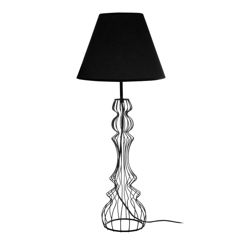 Chicago Black Table Lamp/Metal Wire Base/Black Shade - Bedroom Decor