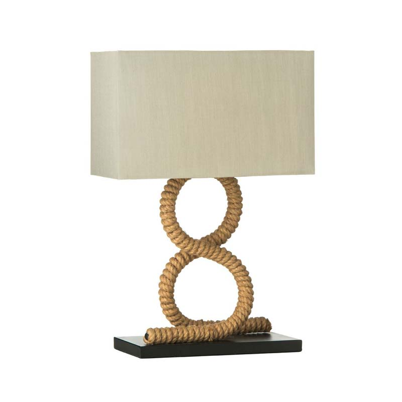 Maine Jute Rope Table Lamp With Flax Fabric Shade (UK Plug)