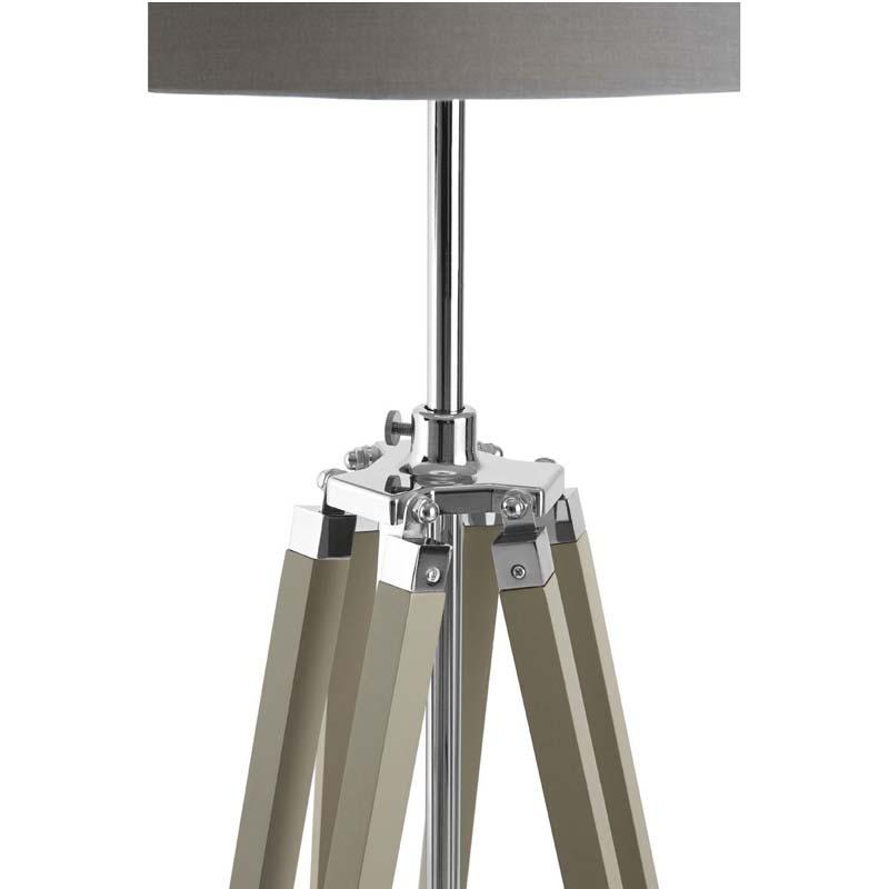 Tripod Floor Lamp, Grey Wood, Chrome