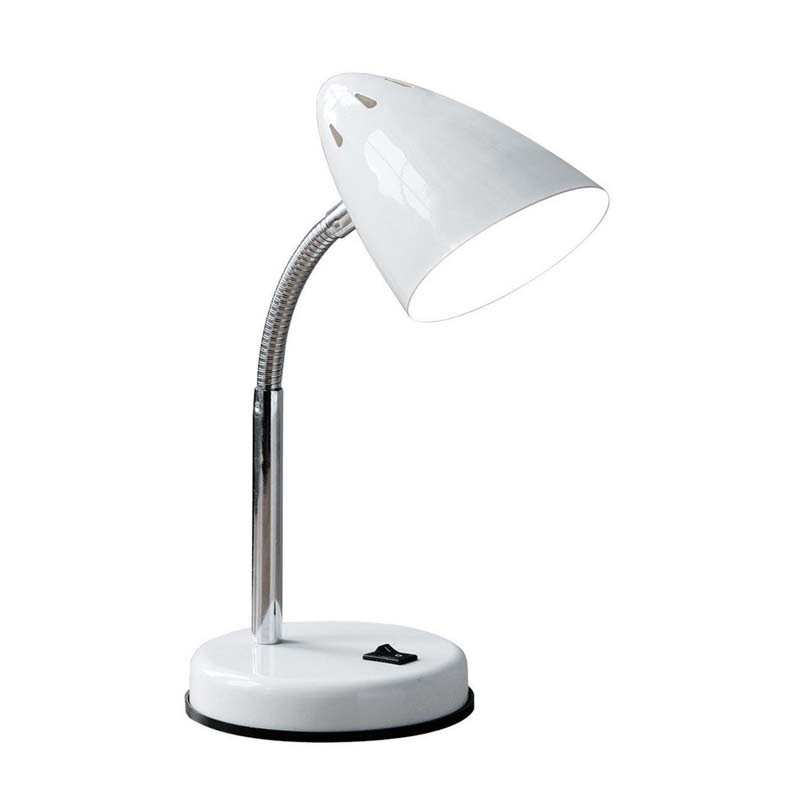 Flexi Desk Lamp (Plug), White Metal, Chrome