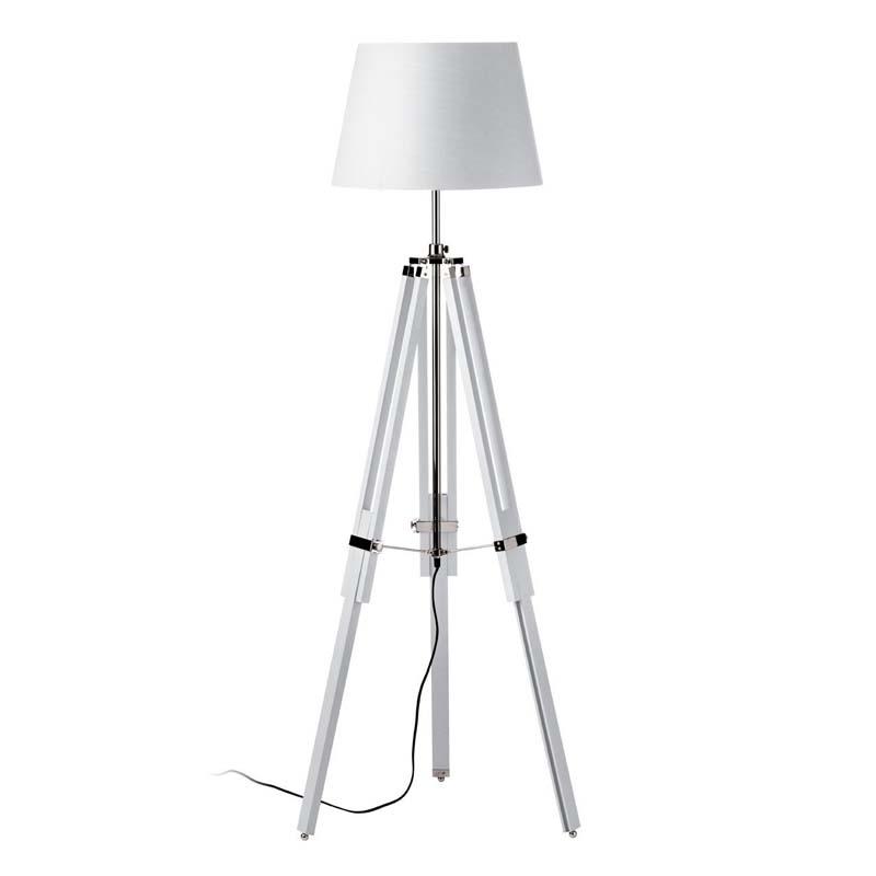 Tripod Floor Lamp, White Wood / Chrome, White Fabric Shade