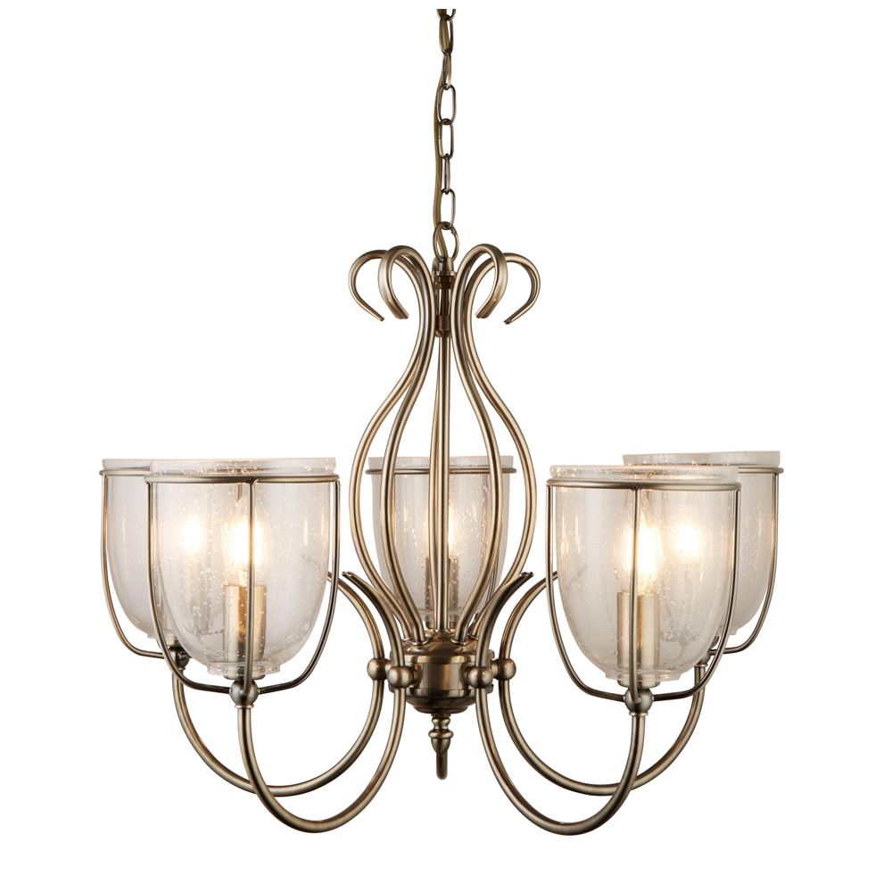 Silhouette 5 Light Antique Brass Ceiling Chandelier With Glass