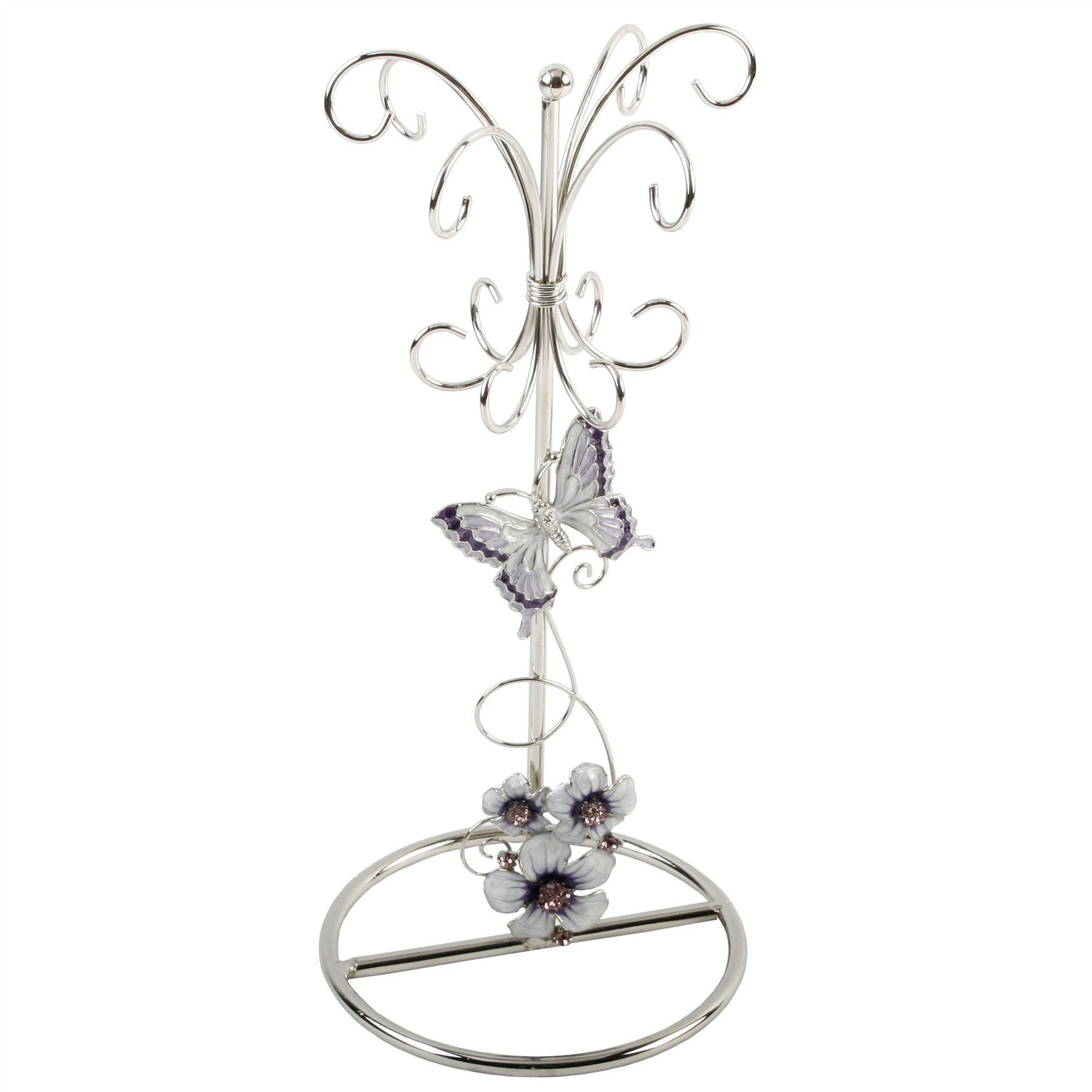 Glass Jewellery Holder Purple Butterfly/Flwrs/Crystl