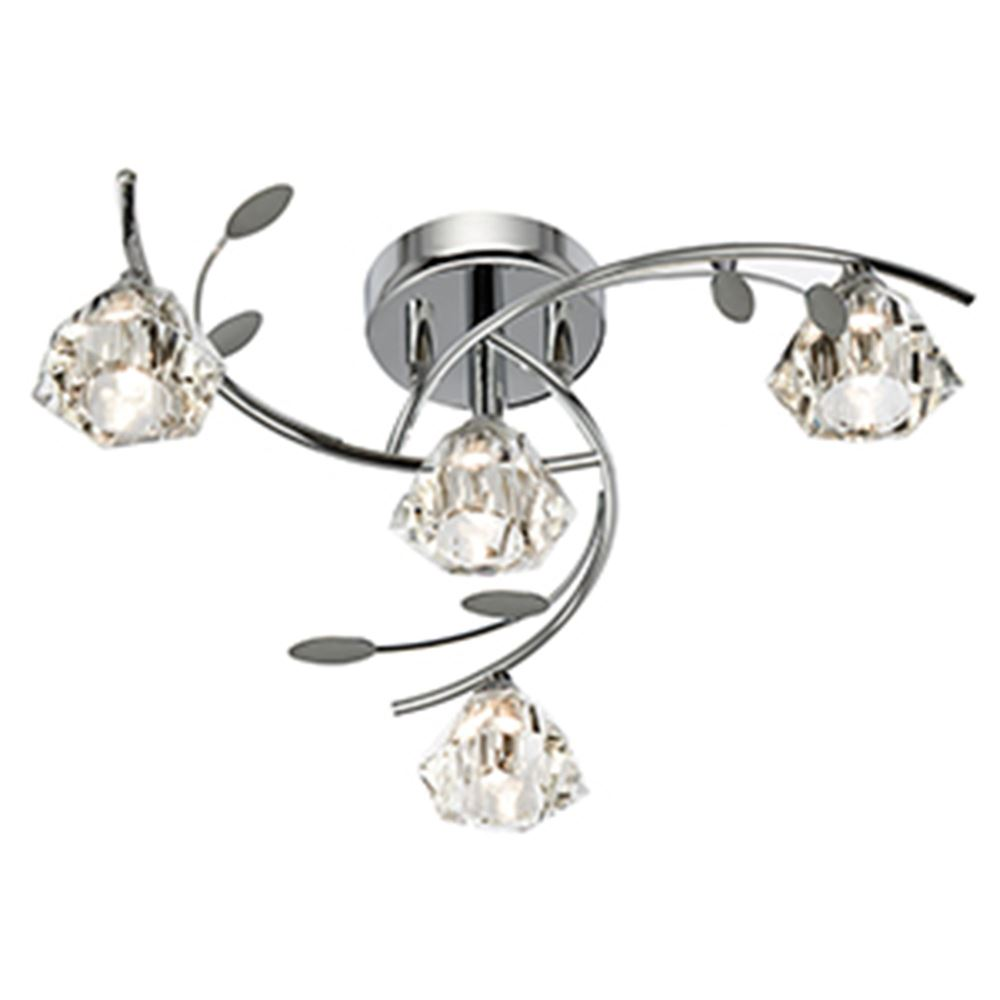 Sierra - 4 Light Semi-Flush Ceiling, Chrome With Sculptured Clear Glass Shades