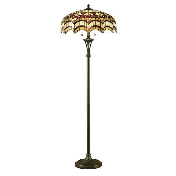 Vesta Tiffany Dragonfly Floor Lamp Black Polyresin 60W