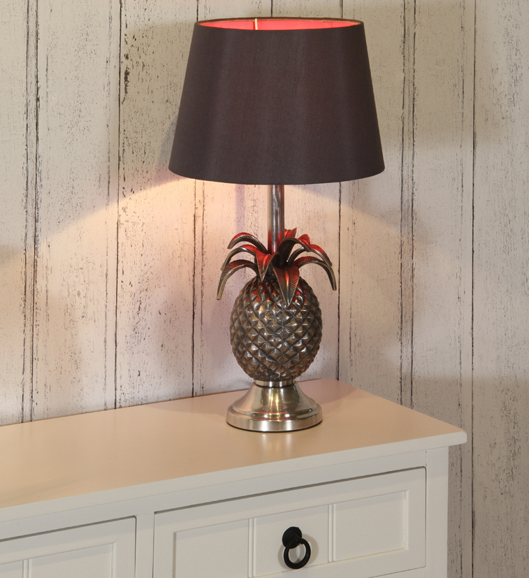 Pineapple Lamp Base Only Antique Silver Stunning Design Home Decor