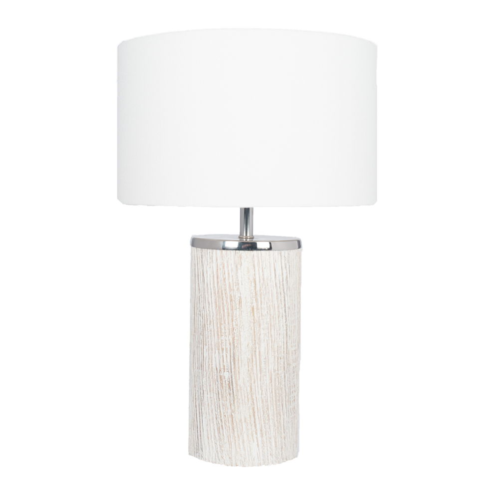 Contemporary Style Grey Wash Wood Table Lamp Cylinder White Shade