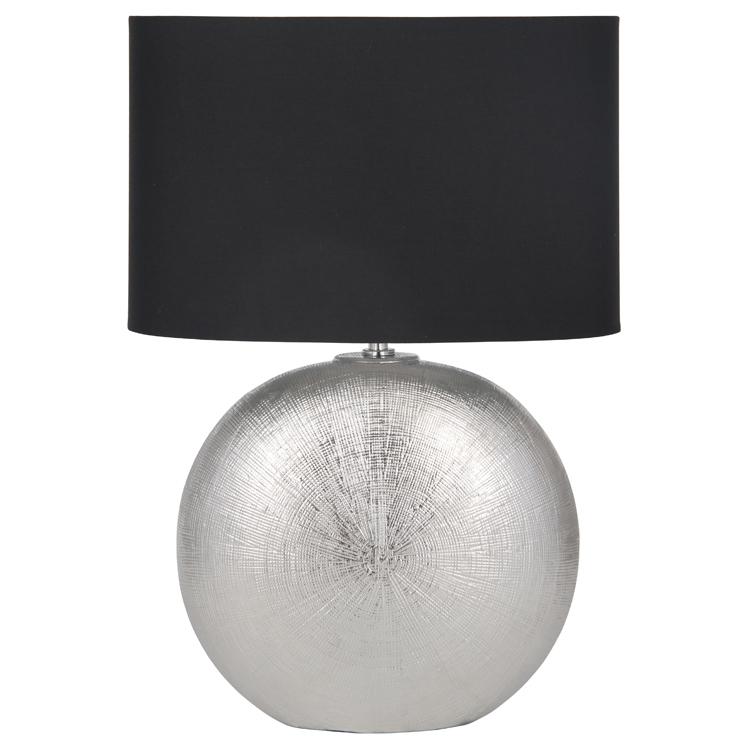 Design Textured Ceramic Table Lamp Black Oval Shade Living Room Decor