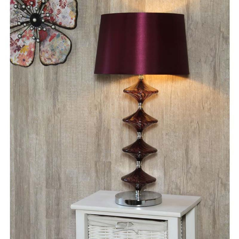 Decorative Metal & Purple Glass Table Lamp With Faux Silk Shade