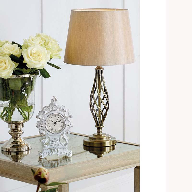Antique Brass Metal Table Lamp Unique Twist Design Base/Shade