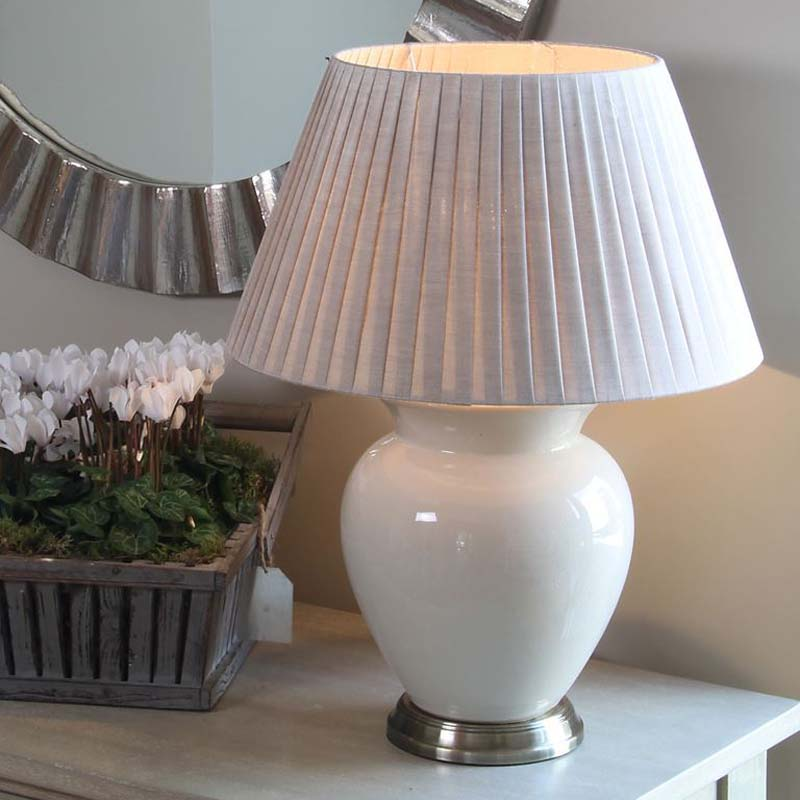 Natural Cream Ceramic Table Lamp & Slight Crackle Effect Tapered Shade