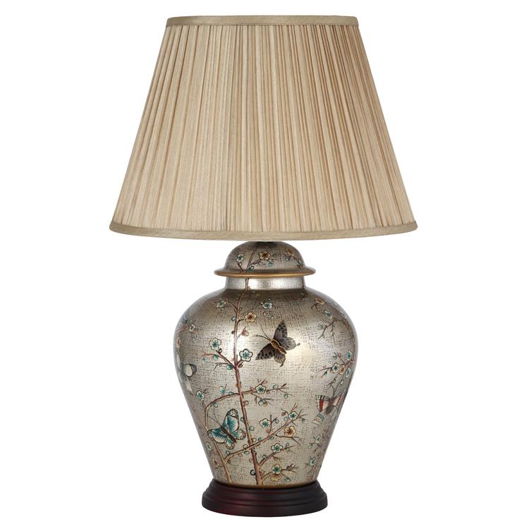 Stunning Design Ceramic Table Lamp With Shade Metallic Finish