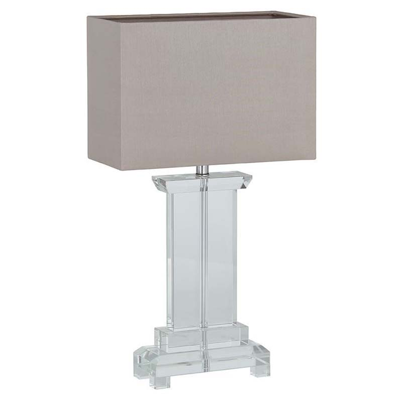 Small Rectangle Crystal Table Lamp Stone Shade Contemporary Style